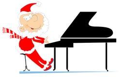 Santa Claus en pianistillustration stock illustrationer