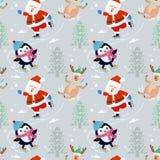 Santa Claus en pinguïn op vleetpatroon vector illustratie