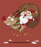 Santa Claus en Rendier Royalty-vrije Illustratie