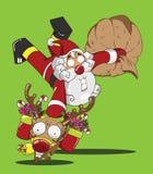 Santa Claus en Rendier Vector Illustratie