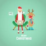 Santa Claus en rendier die post controleren op laptop Vlakke vectorillustratie stock illustratie