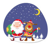 Santa Claus en Rudolph Royalty-vrije Stock Afbeeldingen