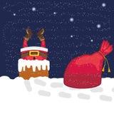 Santa Claus en schoorsteen Stock Afbeeldingen