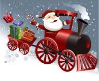 Santa Claus en tren de la Navidad Fotografía de archivo