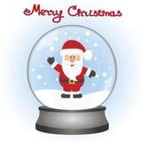 Santa Claus en un globo de la nieve Un juguete Tarjeta de Navidad Fotos de archivo