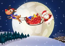 Santa Claus en un trineo con los ciervos en la noche stock de ilustración