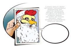 Santa Claus en una máscara del gallo Símbolo del año horoscope Fotos de archivo libres de regalías