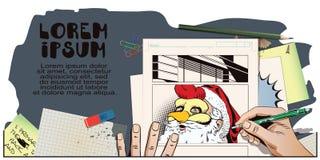 Santa Claus en una máscara del gallo Símbolo del año horoscope ilustración del vector
