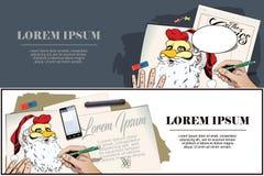 Santa Claus en una máscara del gallo Símbolo del año horoscope stock de ilustración