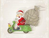Santa Claus en una vespa con la historieta del vector del bolso del regalo Fotos de archivo