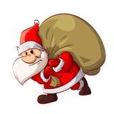 Santa Claus en zijn zak Royalty-vrije Stock Afbeeldingen