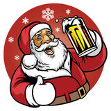 Santa claus enjoy a glass of beer Stock Photography