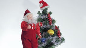 Santa Claus enjoys coming Christmas stock video