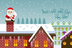 Santa Claus entering chimney-EPS10 Royalty Free Stock Photography