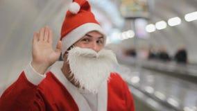 Santa claus escalator  christmas shopping  mall center  subway. Hi stock video footage