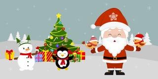 Santa Claus está estando na árvore de Natal e está guardando pássaros em suas mãos Boneco de neve bonito e pinguim com um present ilustração stock
