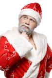 Santa Claus está pensando, o fundo branco fotografia de stock