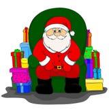 Santa Claus está sentando-se em uma cadeira Fotografia de Stock Royalty Free