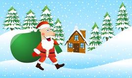 Santa Claus está vindo com um saco de presentes na floresta do inverno ilustração do vetor