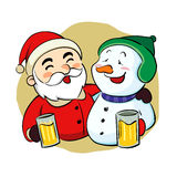 Santa Claus et bonhomme de neige ivres Images stock