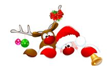 Santa Claus et cerfs communs 2 Photographie stock