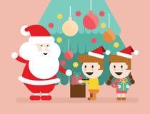 Santa Claus et enfants ayant un amusement Images libres de droits