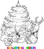 Santa Claus et les animaux de la forêt illustration libre de droits