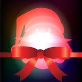Santa Claus et ruban rouge avec le fond de Noël et le vecteur de carte de voeux Photographie stock