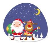 Santa Claus et Rudolph Images libres de droits