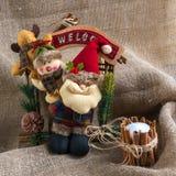 Santa Claus et un bonhomme de neige Photos libres de droits