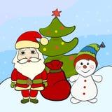 Santa Claus et un bonhomme de neige drôle près de l'arbre de Noël Photos libres de droits