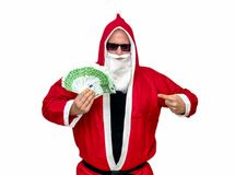 Santa Claus with money Royalty Free Stock Photos