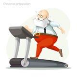 Santa Claus exercisers på en trampkvarn Royaltyfri Fotografi