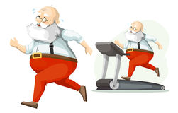Santa Claus exercisers on a treadmill Stock Images