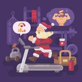 Santa Claus exercising and getting into shape for Christmas. Santa running on a treadmill in a gym dreaming of a strong body Royalty Free Stock Images