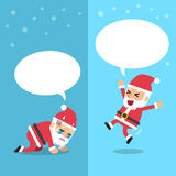 Santa claus expressing different emotions with white speech bubbles Royalty Free Stock Photos