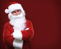 Santa Claus in eyeglasses looking at camera Royalty Free Stock Photos