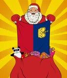 Santa Claus får nationsflaggan från Liechtenstein ut ur påsen med leksaker i stil för popkonst Illustration av det nya året i vag stock illustrationer