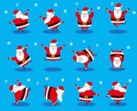 Santa Claus för beståndsdelar för fastställd design för vektor som roligt dansa olikt tecken isoleras på blå bakgrund Royaltyfria Bilder