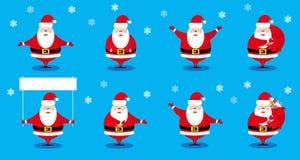 Santa Claus för beståndsdelar för fastställd design för vektor som roligt olikt tecken isoleras på blå bakgrund Royaltyfri Foto