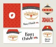Santa Claus för glad jul kort och etikettuppsättning royaltyfri illustrationer