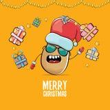 Santa Claus för skraj komisk tecknad film för vektor gullig brun le potatis med den röda santa hatten, gåvor och calligraphic gla royaltyfri illustrationer