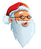 Santa Claus' face. Smiling, cheerful face of Santa Claus with a big, white beard Stock Images