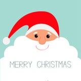 Santa Claus face with big beard. Merry Christmas Greeting card. Cute cartoon character. Flat design Stock Photos