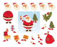 Santa Claus. Face and body elements Royalty Free Stock Image
