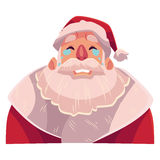 Santa Claus face , crying facial expression. Cartoon vector illustrations  on white background. Santa Claus emoji crying, shedding tears, sad, heart broken, in Royalty Free Stock Image