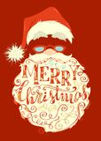 Bright festive Merry Christmas lettering on red background. Santa Claus face, hat with pompon, glasses and light curly beard. Hand-drawn swirls and letters Stock Photography