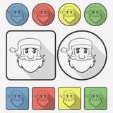 Santa Claus face icon with a shadow. Vector illustration. stock illustration
