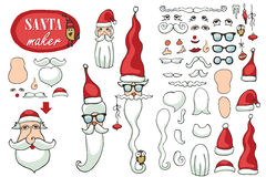 Santa Claus face maker.Constructor image set Royalty Free Stock Photo