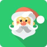Santa Claus Face-pictogram vlak ontwerp Royalty-vrije Stock Foto's
